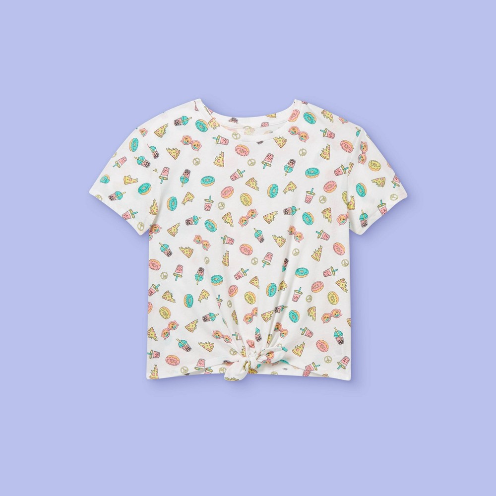 Girls 39 39 Yummy Snacks 39 Tie Front Short Sleeve Graphic T Shirt More Than Magic 8482 White Xl
