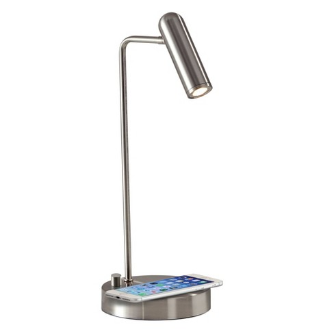 Wireless Charging Table Lamp Silver Includes Energy Efficient Light Bulb Adesso