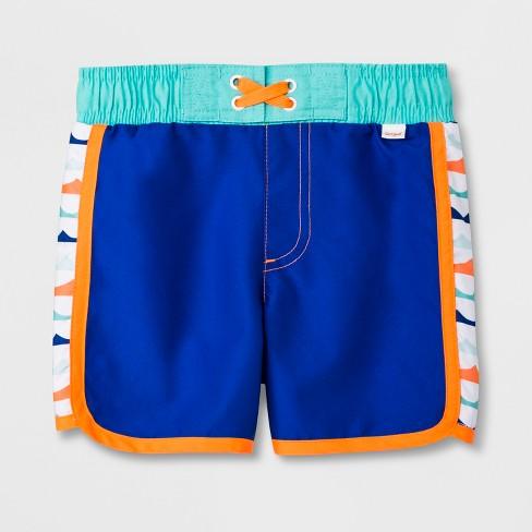 Toddler Boys' Pieced Side Swim Trunks - Cat & Jack™ Blue - image 1 of 2