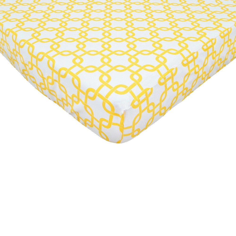 TL Care Golden Yellow Twill Fitted Crib Sheet, Multi-Colored