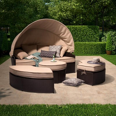 Harrison 4 Piece All Weather Wicker Patio Daybed With Canopy Set    Threshold™
