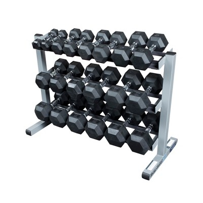 Body Solid Dumbell Rack with 5-50LB Rubber Hex Dumbell Set - (GDR363WSDRS550)