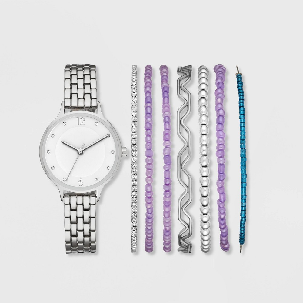 Image of Women's Bracelet Watch Set - A New Day Silver/Purple, Size: Small, Purple Silver
