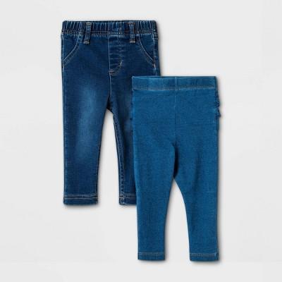 Baby Girls' 2pk Jeans - Cat & Jack™ Denim Blue 0-3M