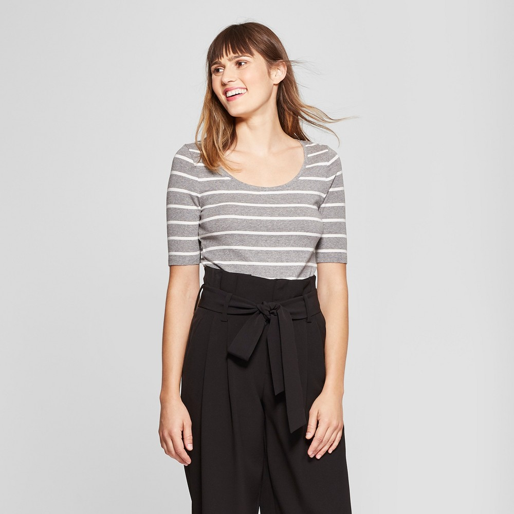 Women's Striped Elbow Length Fitted T-Shirt - A New Day Heather Gray/White L