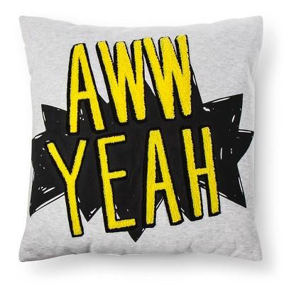 Aww Yeah Throw Pillow (18 x18 )Yellow & Black - Pillowfort™