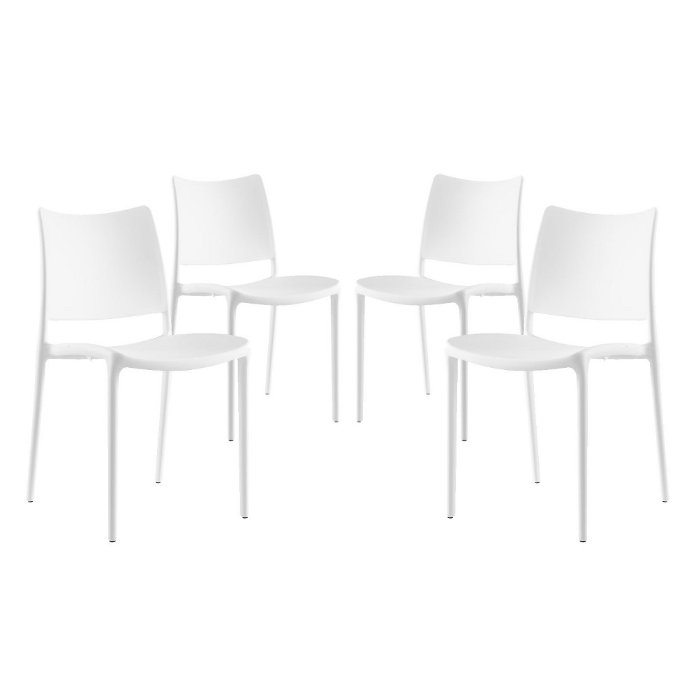 Hipster Dining Side Chair Set of 4 White - Modway