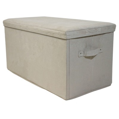 Seat Pad Folding Storage Bench - Micro Suede Cover - Beige - Flora Home