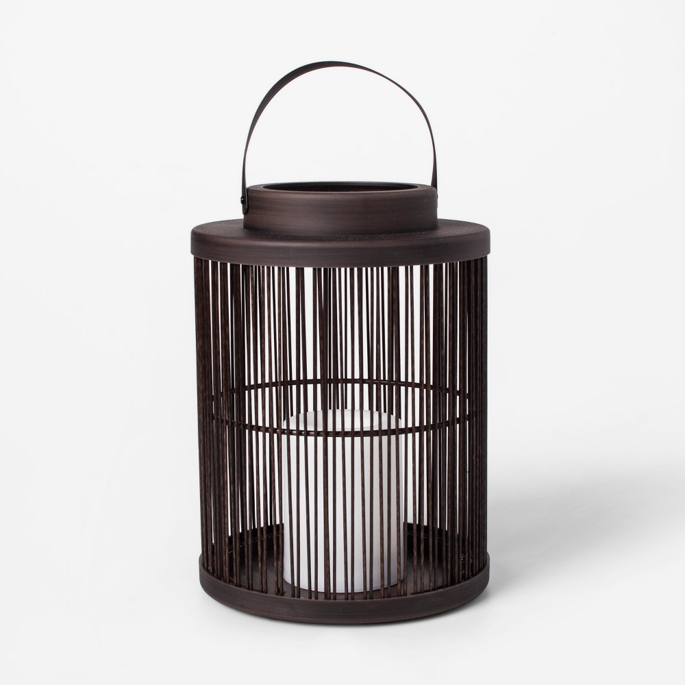 "Image of ""10"""" Vertical Weave LED Battery Operated Outdoor Lantern - Threshold"""