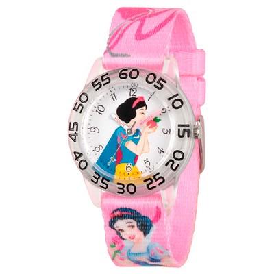 Girls' Disney Princess Snow White Clear Plastic Time Teacher Watch - Pink