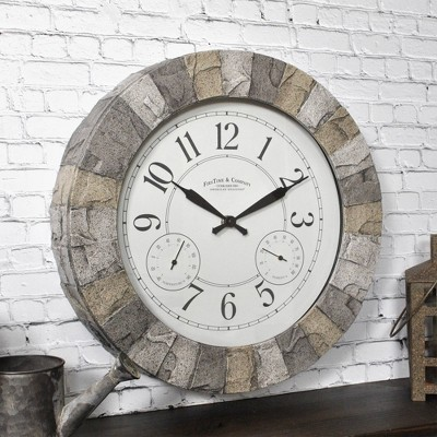 "14"" First Time Stoneybrook Outdoor Wall Clock Charcoal"