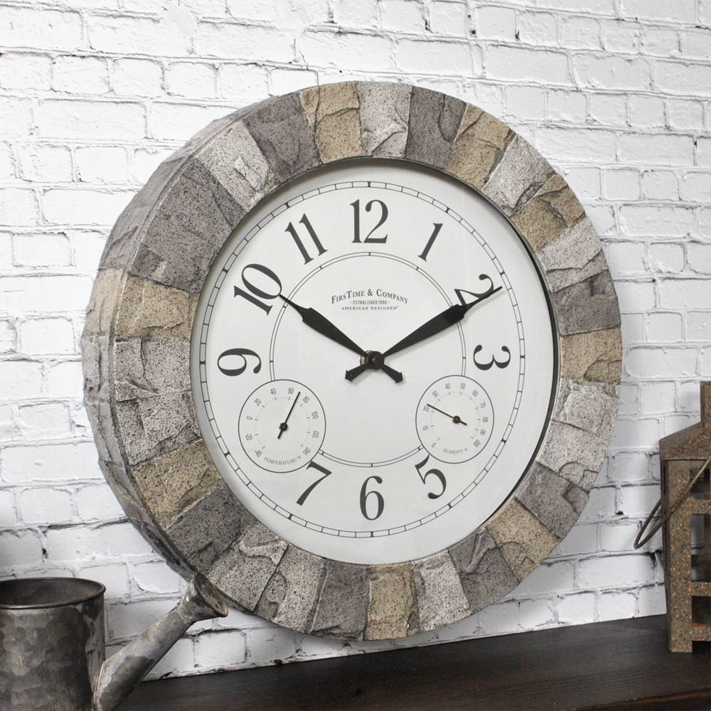 "Image of ""14"""" First Time Stoneybrook Outdoor Wall Clock Charcoal"""