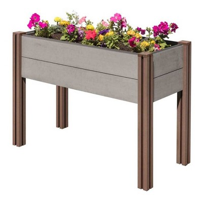 Stratco Raised Wood Plastic Composite Outdoor Decor Elevated Rectangular Garden Bed Planter Box with 47 Inch Tall Wooden Legs, Gray