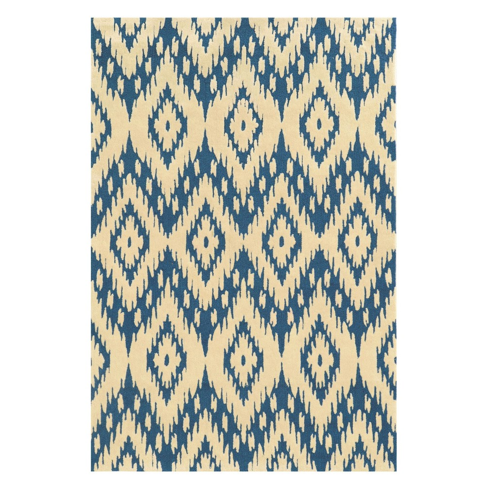 Trio Collection Geo Ikat Area Rug - Blue / Ivory (8' X 10')