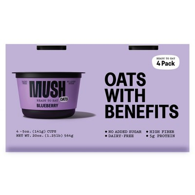 MUSH Gluten Free and Vegan Blueberry Ready-to-Eat Oats - 20oz/4ct