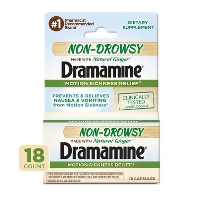 Dramamine Non-Drowsy Naturals Motion Sickness Relief - 18ct