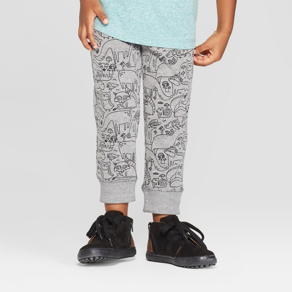 Toddler Boys' Critter Print Pull-On Jogger - Cat & Jack Charcoal 3T, Gray