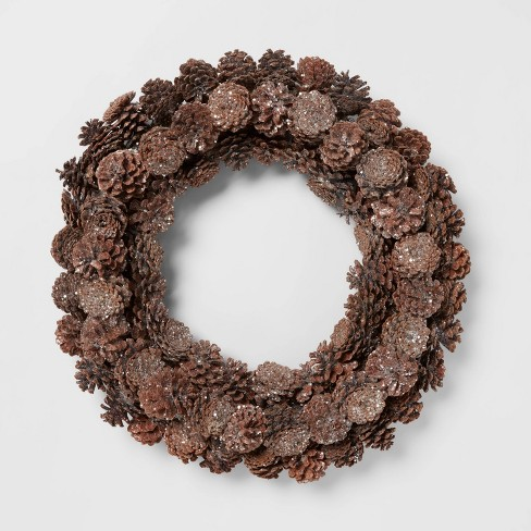 "22"" Pine Cone Wreath - Threshold™ - image 1 of 3"