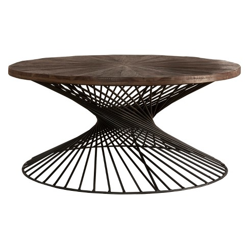 Kanister Coffee Table Wood Metal Weathered Walnut Finished Dark Pewter Hillsdale Furniture Target