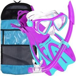 U.S. Divers Junior Large Kids Dorado Mask, Proflex Fins, & Sea Breeze Snorkel Set with Carry Travel Bag, Fun Purple