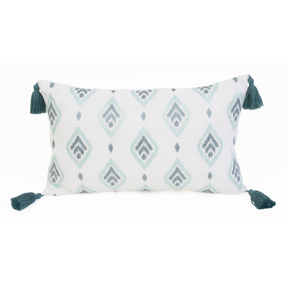 """Image of """"12""""""""x20"""""""" Sophie Embroidered Faux Linen Pillow Blue - Décor Therapy"""""""
