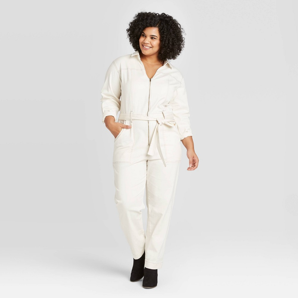 Women's Plus Size Long Sleeve Collared Boilersuit - Universal Thread Cream 16W, Women's, Ivory was $39.99 now $27.99 (30.0% off)
