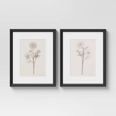 "(Set of 2)16"" x 20"" Framed Floral Sketch Framed Wall Art White - Threshold™"