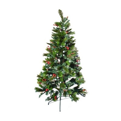 ALEKO CT6FT001 Multi-Colored Pre-Lit Artificial Bluetooth Musical Christmas Tree with Wintry Accents - 6 Foot - Green