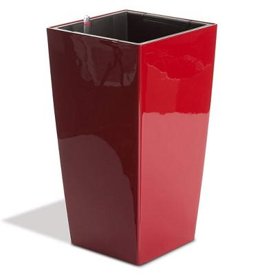 Algreen Modena 22-Inch Tall Inside/Outside Self-Watering Square Decorative Planter Pot with Wheels, Glossy Red