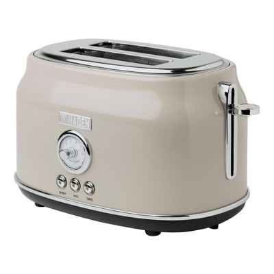Haden 75003 Dorset Wide Slot Stainless Steel Body Countertop Retro 2 Slice Toaster with Adjustable Browning Control, Putty Beige