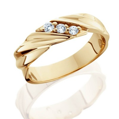 Pompeii3 1/10ct Diamond 14K Yellow Gold Mens Wedding Ring