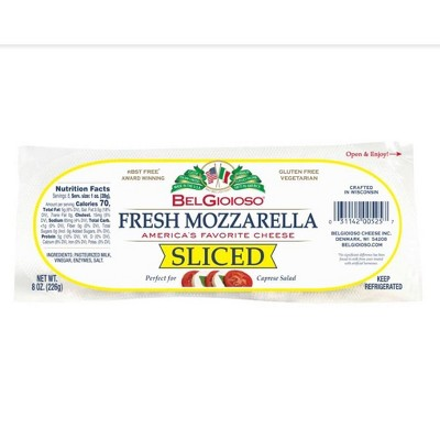 Belgioioso Fresh Mozzarella Sliced Cheese - 8oz