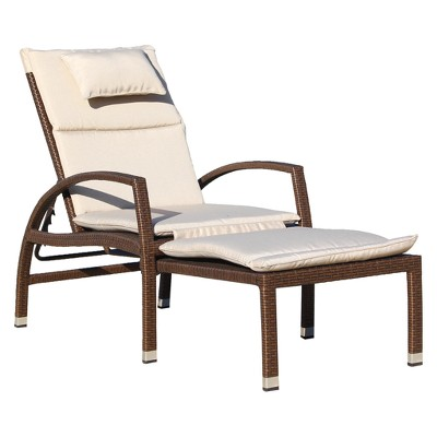 Beach Front Deck Chair To Chaise Lounge Combo - Brown - Courtyard Casual