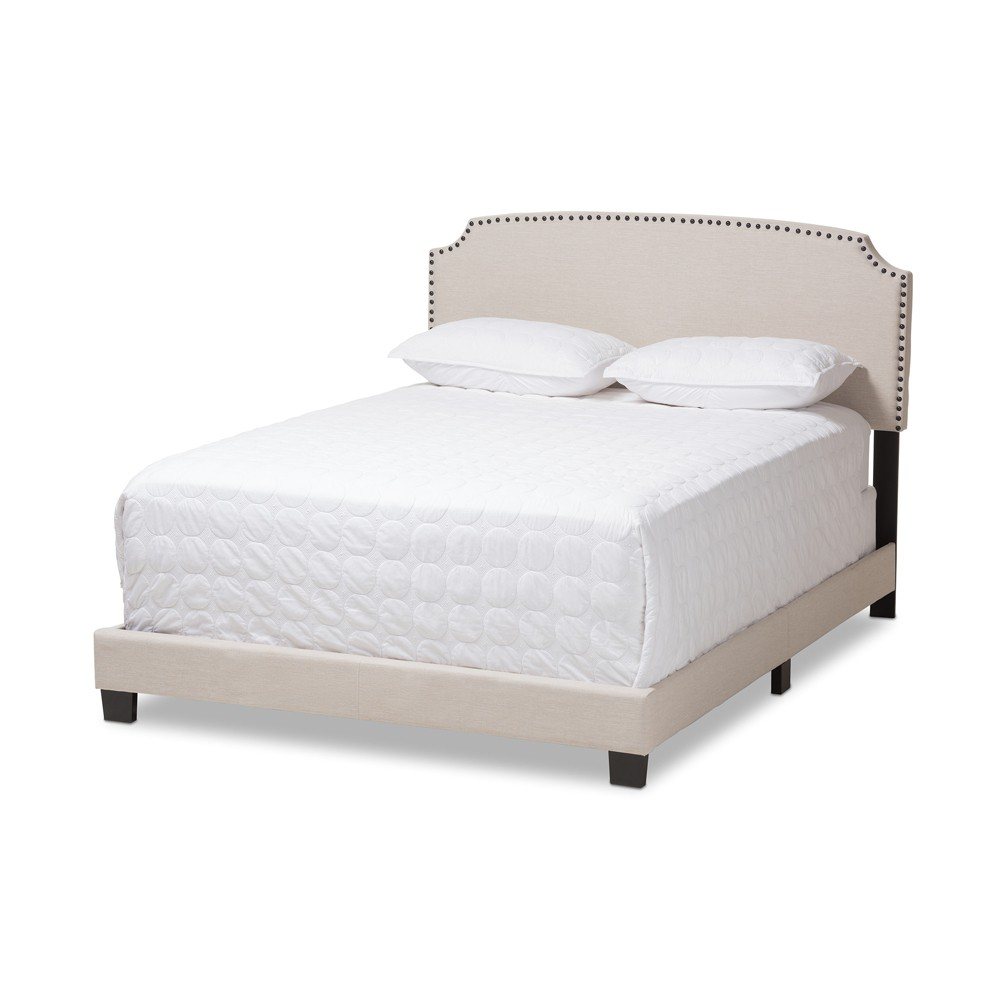 Full Odette Modern and Contemporary Fabric Upholstered Bed Light Beige - Baxton Studio