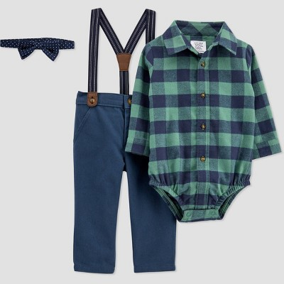 Baby Boys' Flannel Top & Bottom Set with Bowtie - Just One You® made by carter's Dark Green 9M