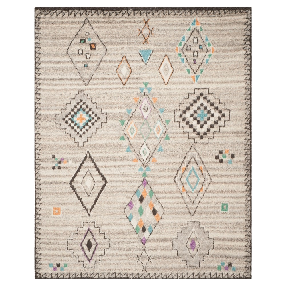 Natural/Multi Solid Knotted Area Rug - (8'X10') - Safavieh, Multicolored White