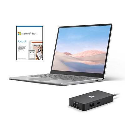 "Microsoft Surface Laptop Go 12.4"" Touchscreen Intel Core i5 8GB RAM 128GB SSD Platinum + Microsoft USB-C Travel Hub + Microsoft 365 Personal 1 Yr"