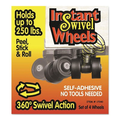 Master Caster Roll-Arounds Instant Swivel Wheels Self-Adhesive Black 4/Set 17240