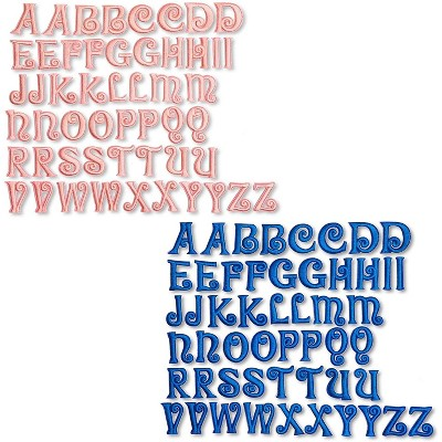 Bright Creations 104-Pack Iron On Patches, Pink and Blue Alphabet A-Z Letters for Arts and Crafts, 1 x 1 In