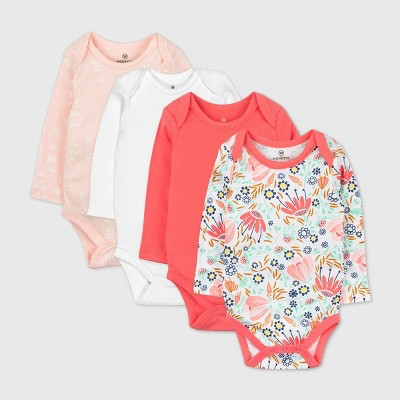 Honest Baby Girls' 4pk Organic Cotton Long Sleeve Bodysuit - 6-9M