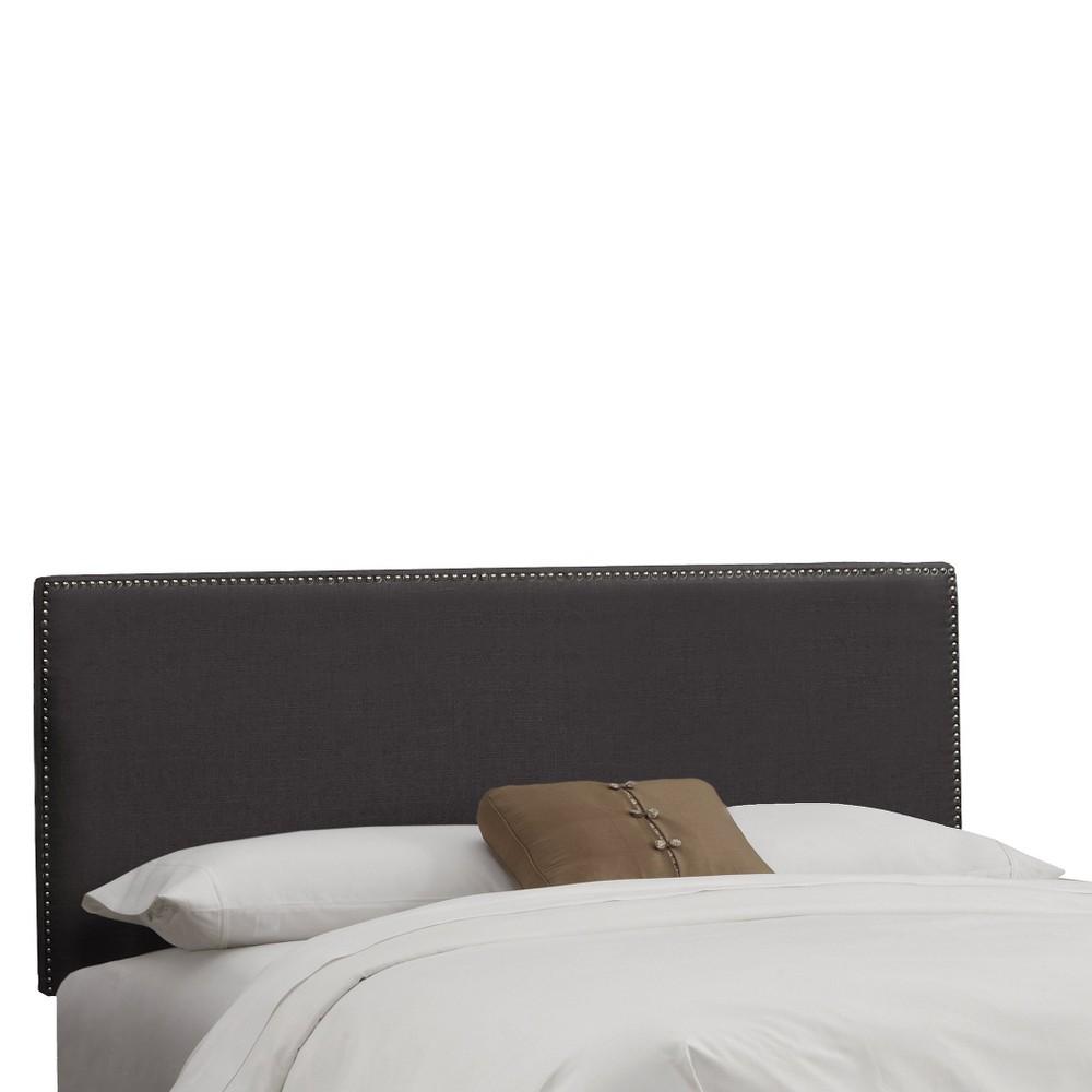 Skyline Arcadia Nailbutton Linen Headboard - California King - Skyline Furniture, Linen Charcoal