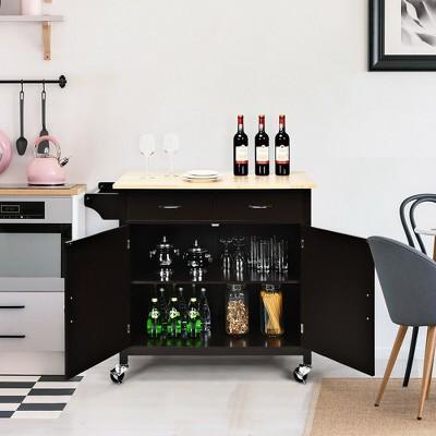 Costway Modern Rolling Kitchen Cart Island Wood Top Storage Trolley Cabinet Utility Brown
