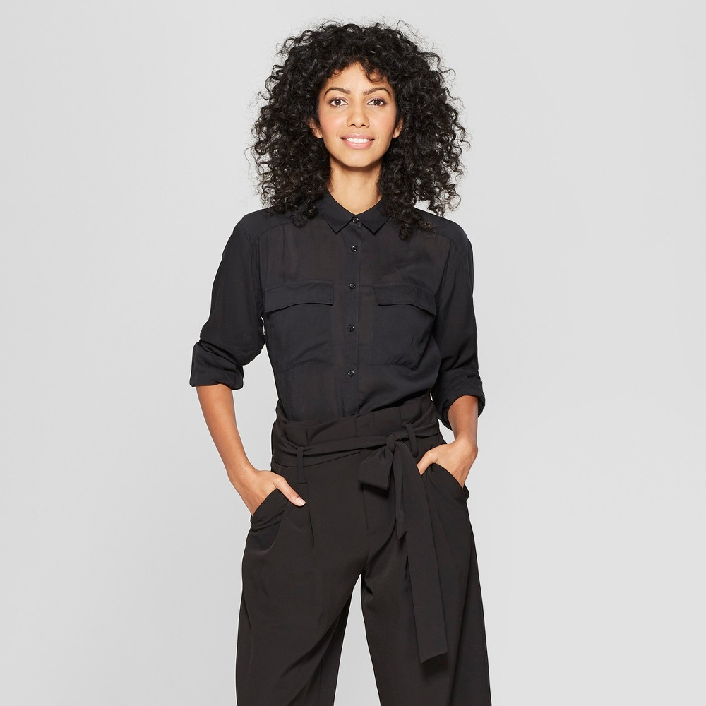 Women's Long Sleeve Utility Shirt - A New Day Black XS