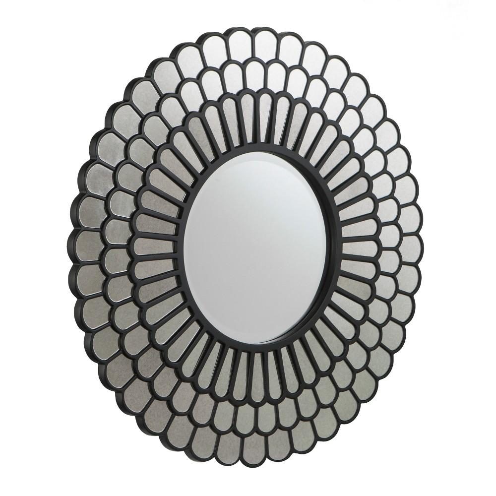 "Image of ""Aiden Lane 32""""x32"""" Tellis Geometric Decorative Wall Mirror Black"""