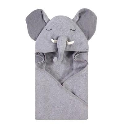 Hudson Baby Infant Boy Cotton Animal Face Hooded Towel, Tusks Elephant, One Size