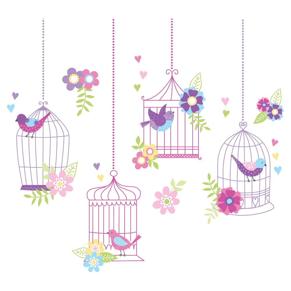 WallPops! Chirping the Day Away Wall Art Kit, Multi-Colored