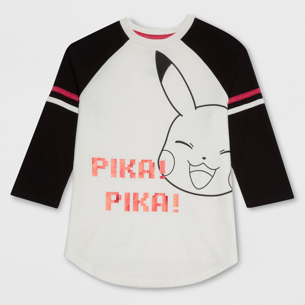 Girls' Pokemon Pikachu 3/4 Sleeve T-Shirt - Ivory S, White