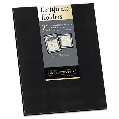 Southworth Certificate Holder Black Linen 105 lbs. 12 x 9-1/2 10/Pack PF18