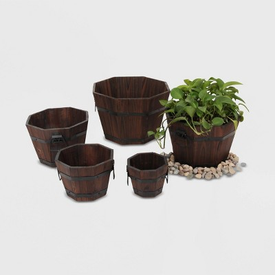 5pc Barrel Style Octagonal Wooden Planters Brown - Leisure Season