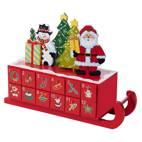 Wooden Sleigh Shaped Christmas Advent Calendar - image 1 of 1